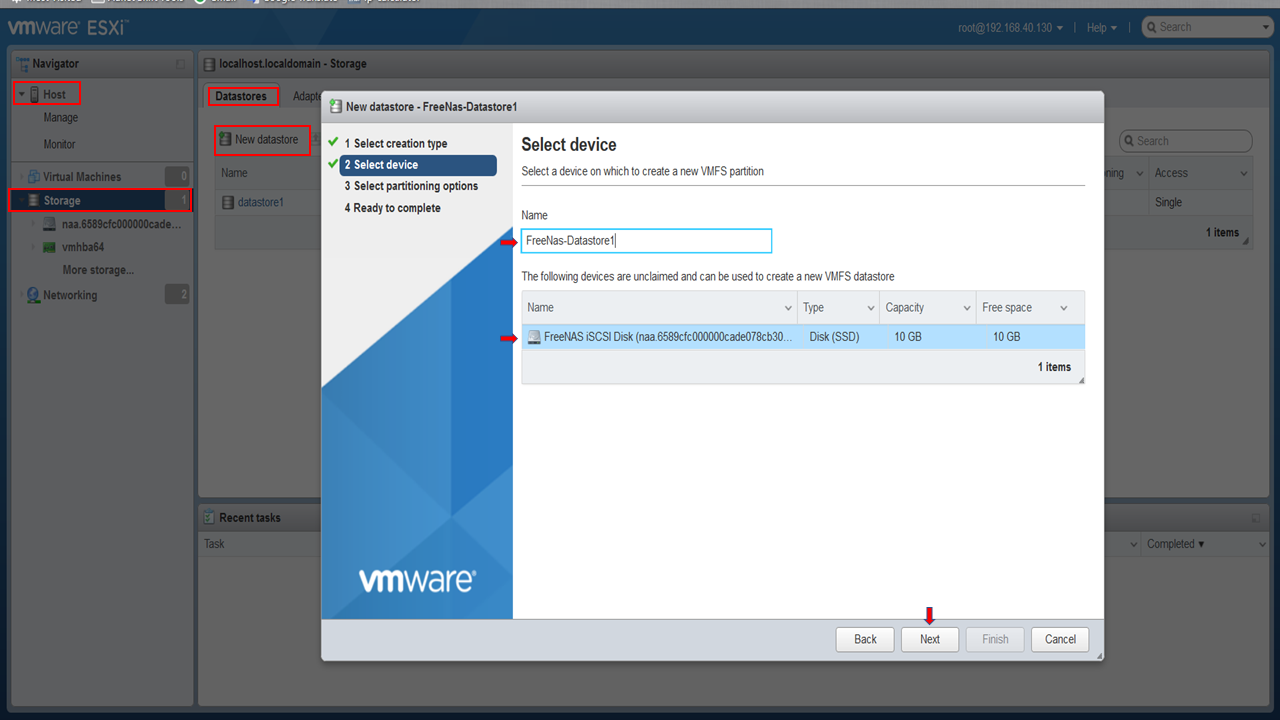 How To Create ISCSI Storage for VMware ESXi with Free NAS 11
